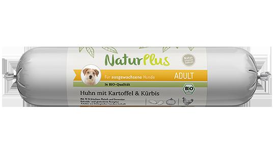 NaturPlus Hund Nassnahrung Bio Adult Wurst Huhn Kartoffel Kürbis