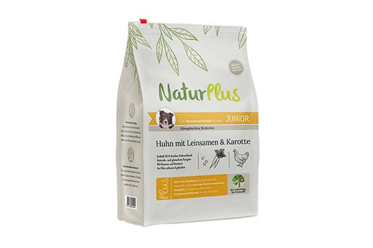 NaturPlus Hund Trockennahrung Junior Huhn Leinsamen Karotte