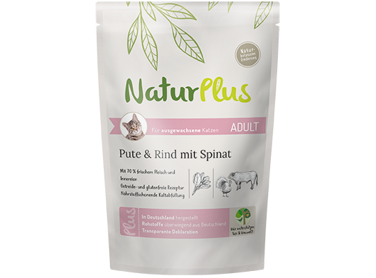 NaturPlus Katze Nassnahrung Adult Pute Rind Spinat