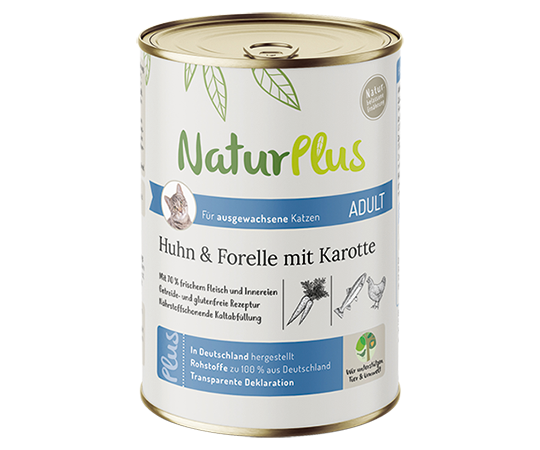 NaturPlus Katze Nassnahrung Adult Huhn Forelle Karotte