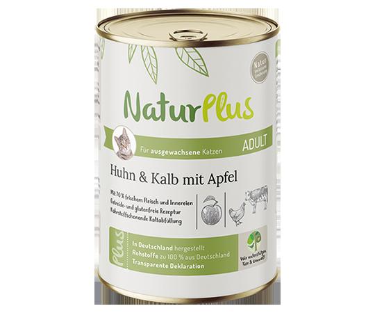 NaturPlus Katze Nassnahrung Adult Huhn Kalb Apfel