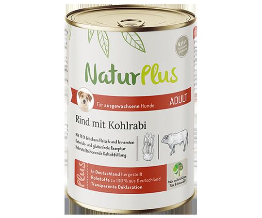 NaturPlus Hund Nassnahrung Adult Rind Kohlrabi