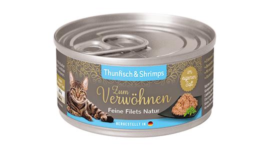 Zum Verwoehnen - Nassfutter für ausgewachsene Katzen - Feine Filets Natur im eigenen Saft - Thunfisch und Shrimps