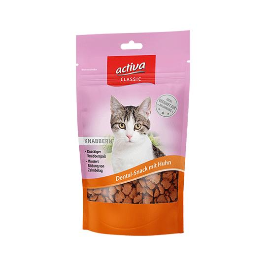 activa CLASSIC Knabbersnacks für Katzen  Dental-Snack mit Huhn 60g