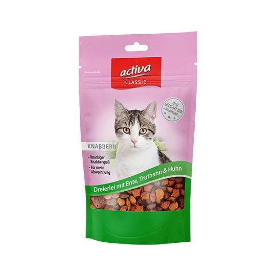 activa CLASSIC Knabbersnacks für Katzen- Dreierlei mit Ente Truthahn Huhn 60 g
