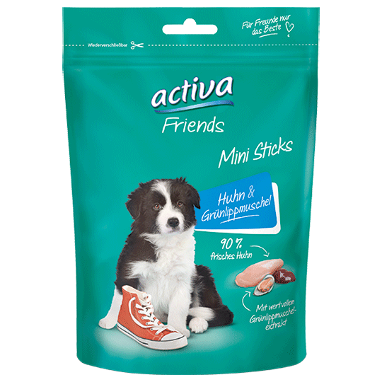 activa Friends Mini Sticks fuer Hunde Junior - Huhn und Gruenlippmuschel