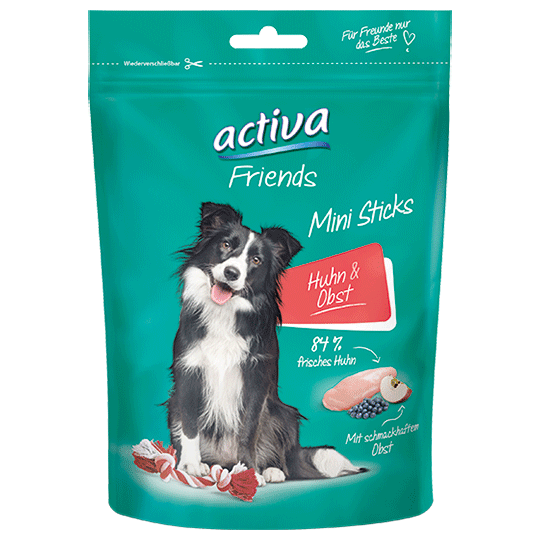 Snacks fuer Hunde - activa Friends Mini Sticks – Huhn und Obst
