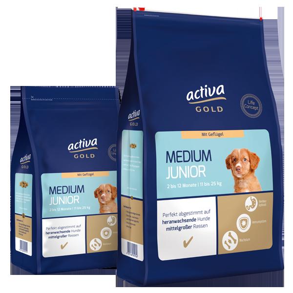 activa gold Hund Trockennahrung Medium Junior Geflügel