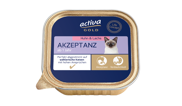 Activa Gold Katze Nassnahrung Akzeptanz Huhn Lachs