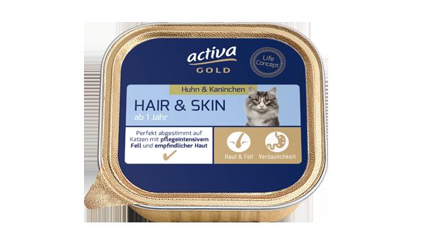 activa gold Katze Nassnahrung Hair Skin Huhn Kaninchen