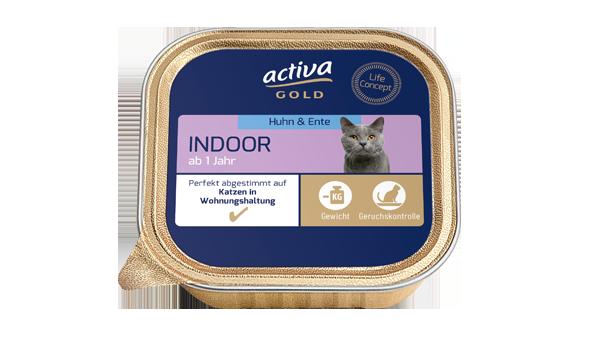 activa gold Katze Nassnahrung Indoor Huhn Ente