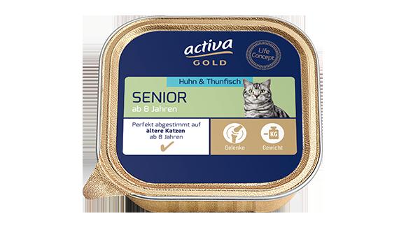 Activa Gold Katze Nassnahrung Senior Huhn Thunfisch